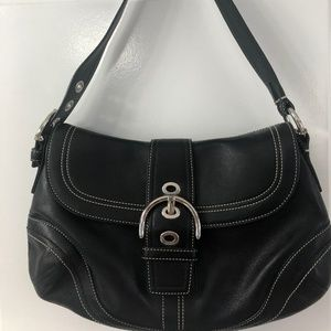 Coach, Black Leather Bag with Buckle